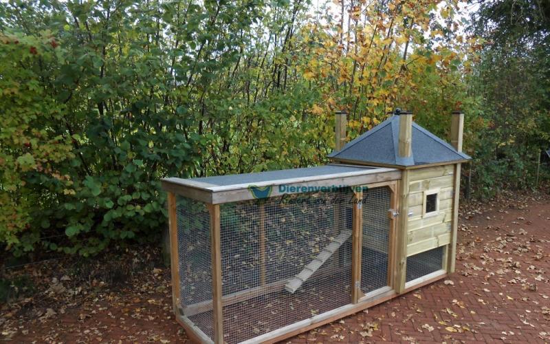 Kippenhok Hooiberg met overdekte ren type B Kwaliteits dierenverblijven van der Land